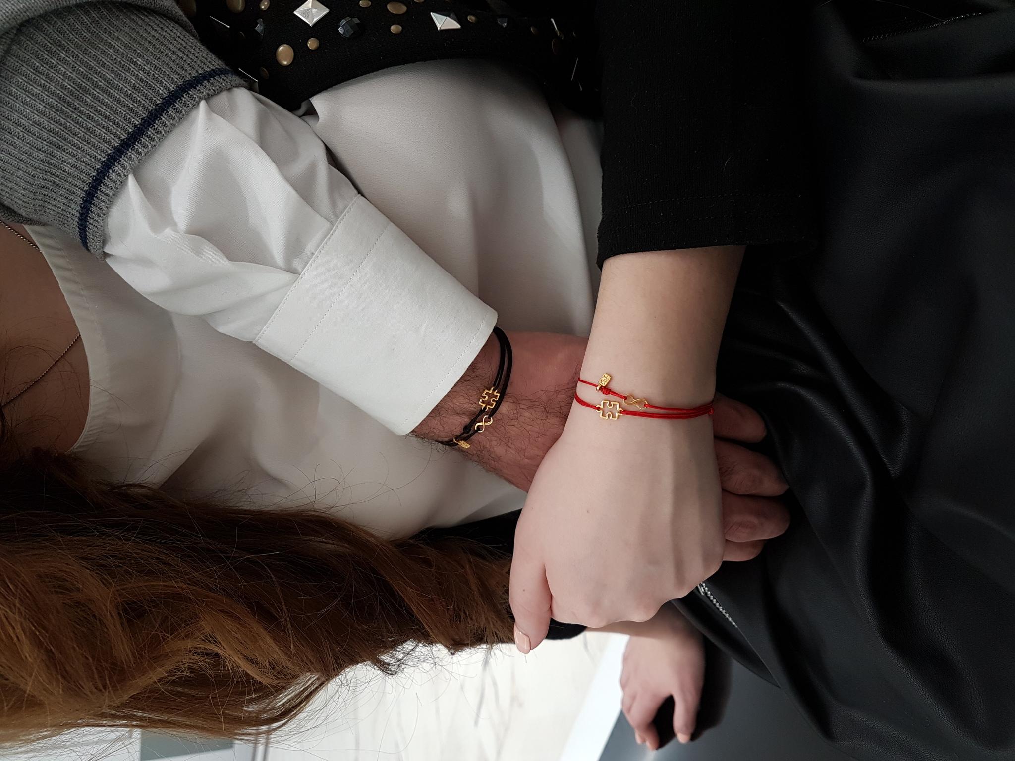 Puzzle pair Bracelets, sterling silver