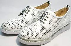 Белые спортивные туфли летние женские GUERO G177-63 White