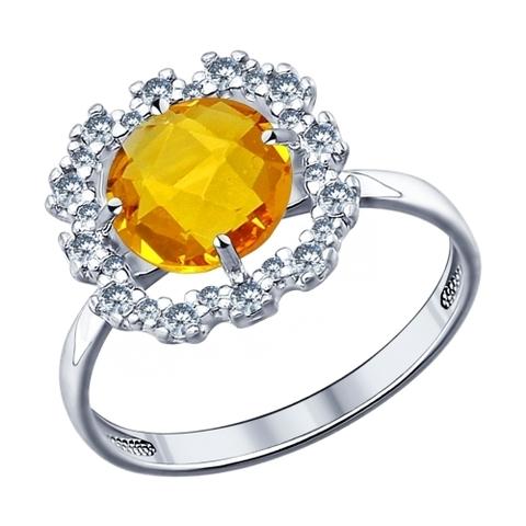 94011531 - Кольцо из серебра с желтой стеклянной вставкой