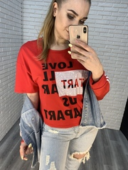 красная футболка оверсайз nadya