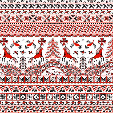 Лошади, птицы, ель - символ благополучия, удачи. Мезенская роспись. (Дизайнер Irina Skaska)
