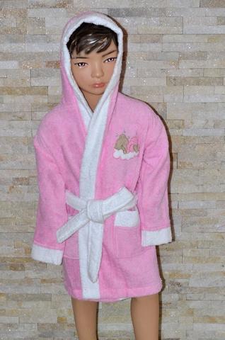 Детский махровый халат с капюшоном La Villa Спящая луна 2 розовый