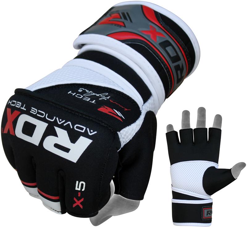 Капы и бинты Быстрые бинты RDX Gel MMA Grappling Gloves X5 Black/Red 1.png