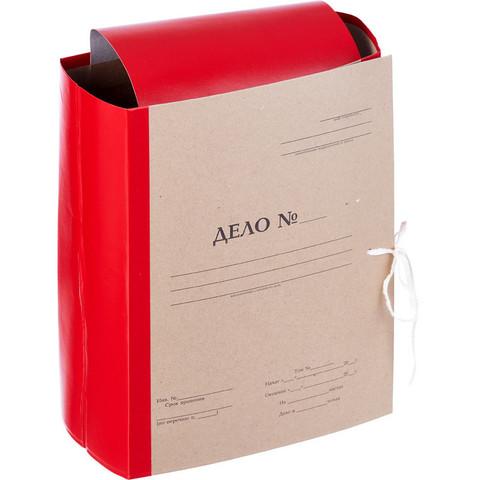 Папка архивная Дело А4 из бумвинила красная 120 мм (складная, 4 х/б завязки, до 1100 листов)