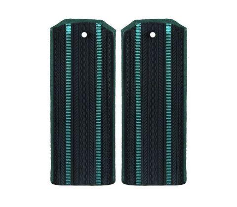 Погоны ПС ФСБ на китель иссиня-черные с 2 зелеными просветами