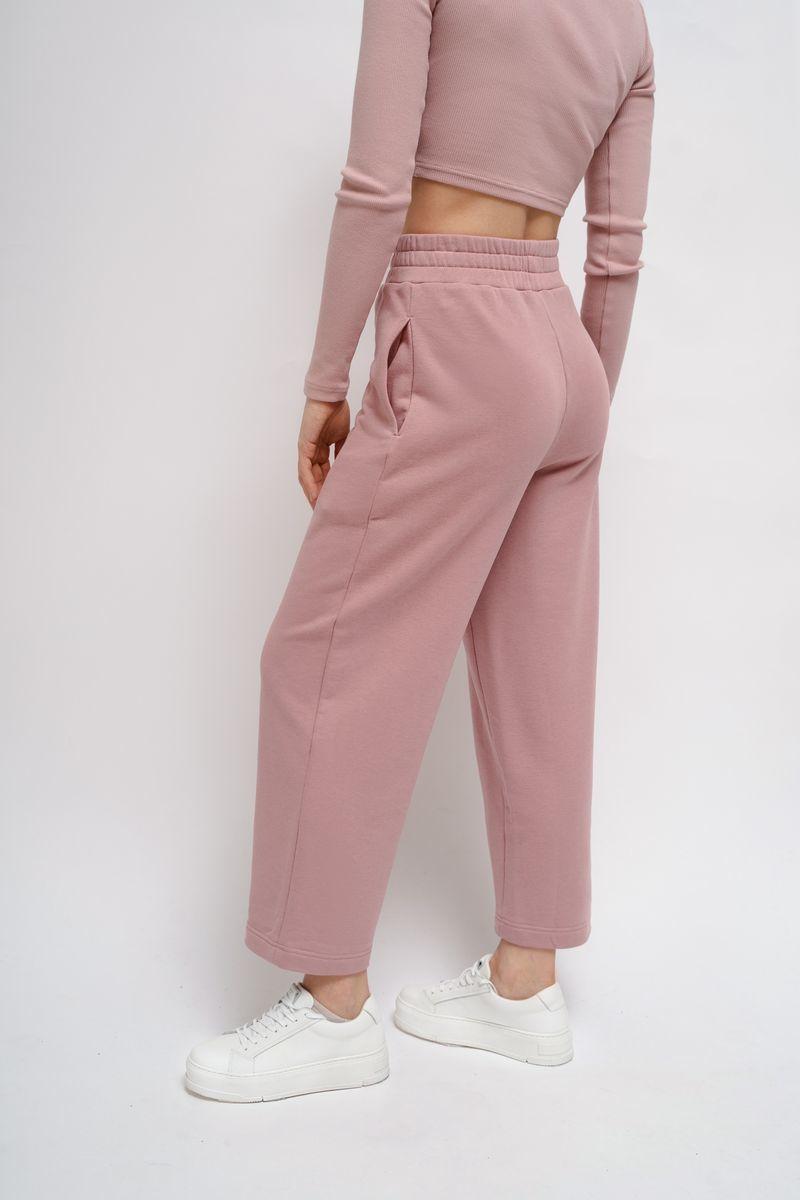 Домашние трикотажные брюки пудровые