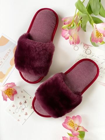 Меховые тапочки пурпурные с цельной шлейкой с текстильной стелькой светло-сиреневой