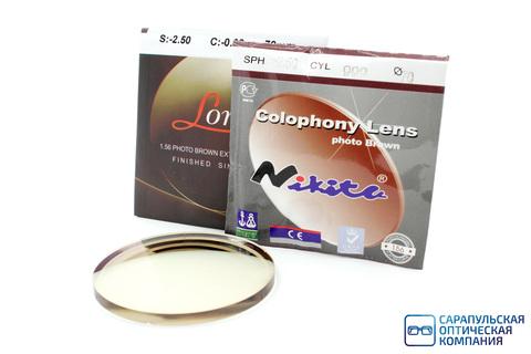 Линза очковая полимерная фотохромная коричневая с многослойным покрытием фильтром