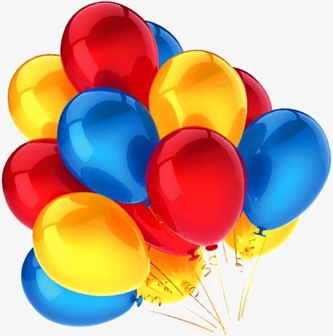 Воздушные шары с гелием Желто-сине-красные