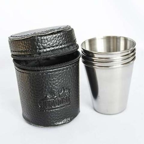 Рюмка «СЛЕДОПЫТ» 60 мл, в кожаной тубе (4 шт)