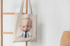 Сумка-шоппер с принтом Босс-молокосос (The Boss Baby) бежевая 004