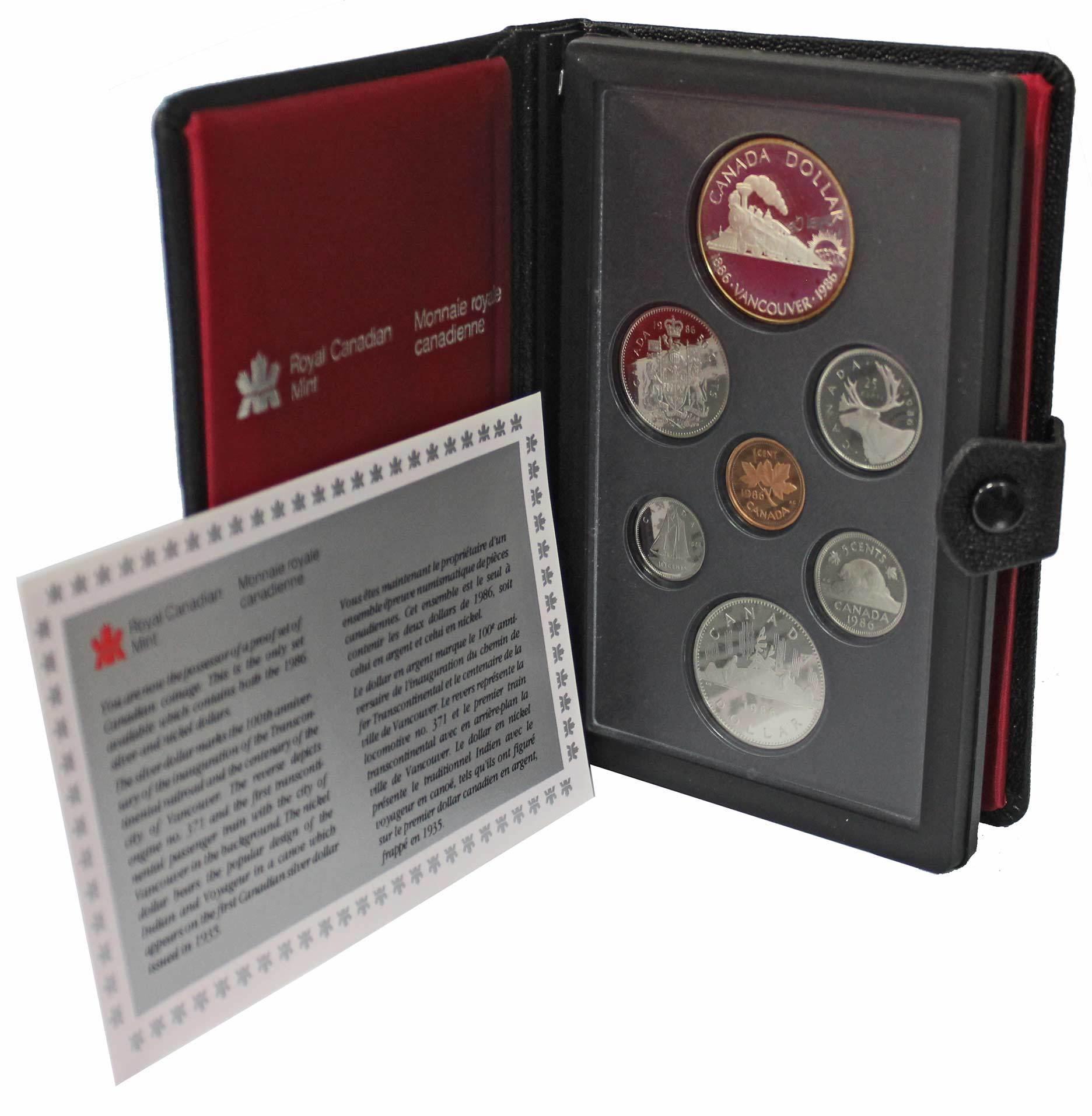 Набор монет Канады 1986 год, в кожаном футляре (Серебро, никель, бронза). PROOF