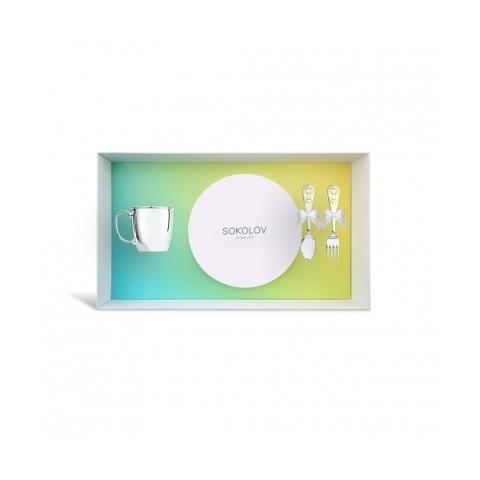 24051 - Подарочный набор для малыша из серебра с чашкой, ложкой и вилкой