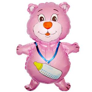 Мини Фигура Медвежонок с бутылочкой малиновый 35 X 42см