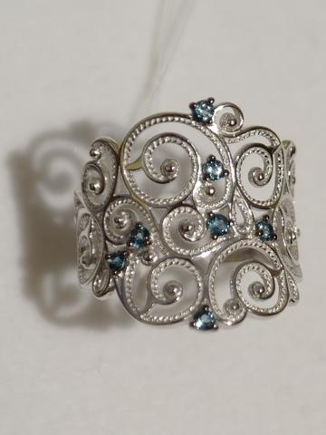 Широкое кольцо с лондон топазом(кольцо из серебра).