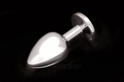 Большая серебристая анальная пробка с круглым кончиком и ярким кристаллом - 9 см