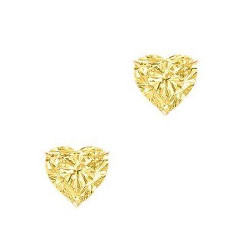 4836- Пусеты HEART из серебра с желтым цирконом в виде сердца