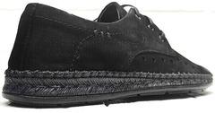 Мужские туфли дерби мокасины со шнурками летние смарт кэжуал Luciano Bellini 91754-S-315 All Black.