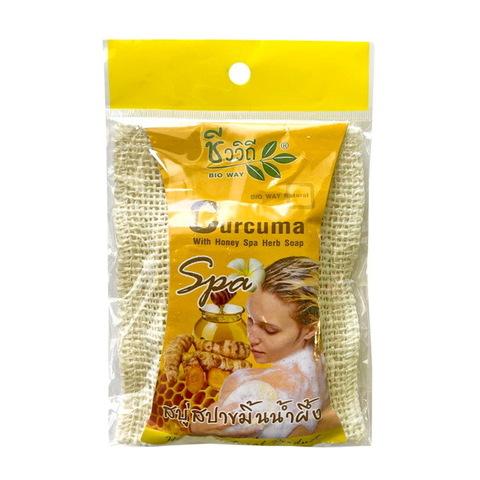 Спа-мыло в мочалке с Куркумой BIO WAY 75 гр. Curcuma oil With Spa Herb Soapс