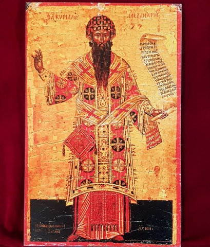Икона святой Кирилл Александрийский на дереве на левкасе