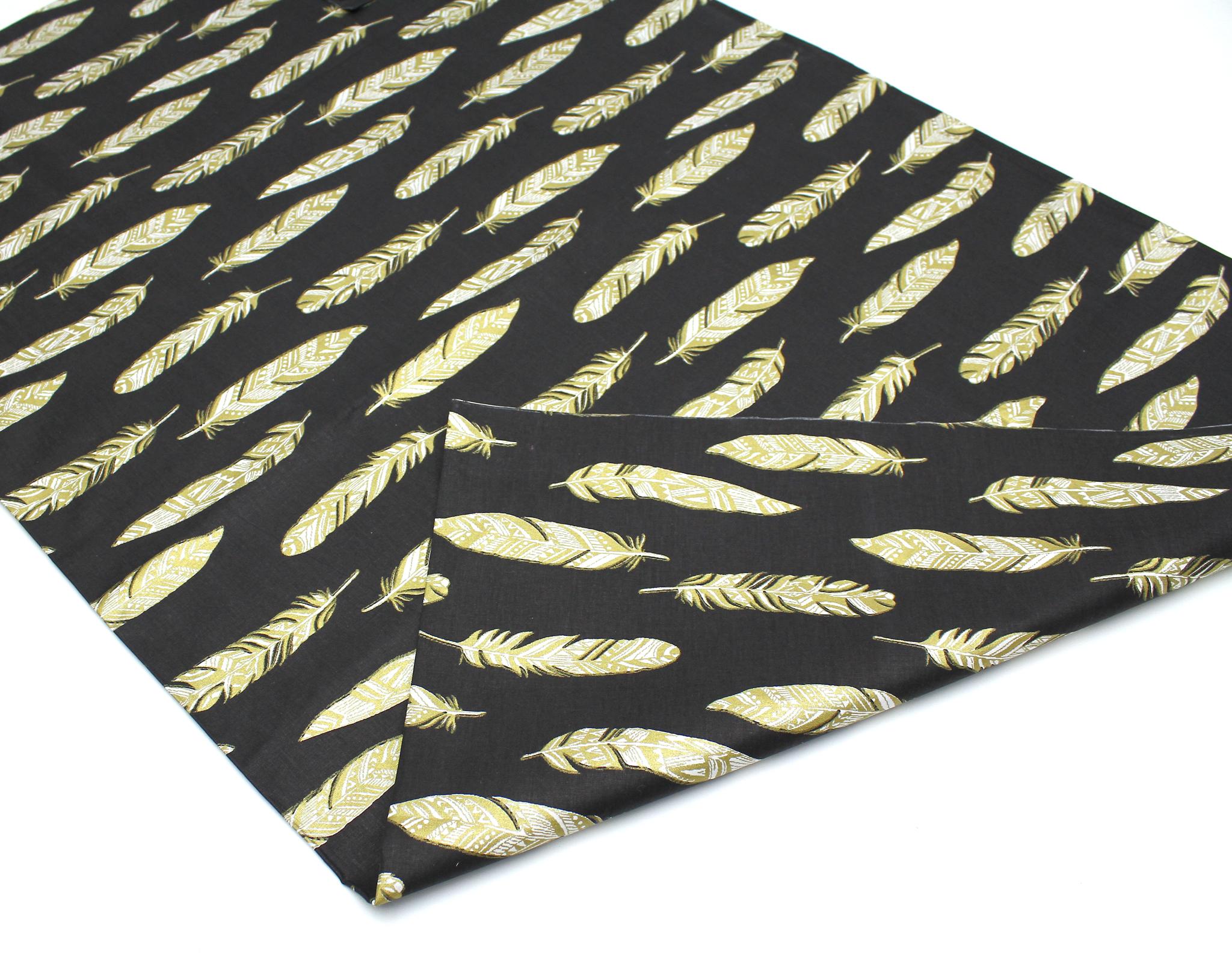 Перья на черном,глиттер золото,240 см