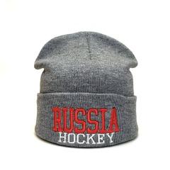 Вязаная шапка Русский хоккей (Russia hockey) серая