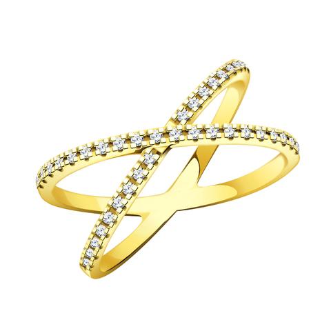л10485 - Колье в форме крестика с фианитами из желтого золота