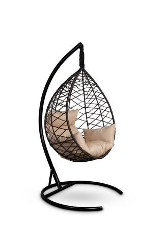 Подвесное кресло-кокон ALICANTE коричневое + каркас + бежевая подушка