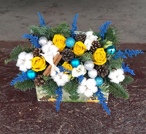 Ящик с цветами Новый Год 4