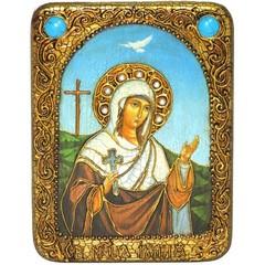Инкрустированная Икона Святая мученица Иулия (Юлия) Карфагенская 20х15см на натуральном дереве, в подарочной коробке