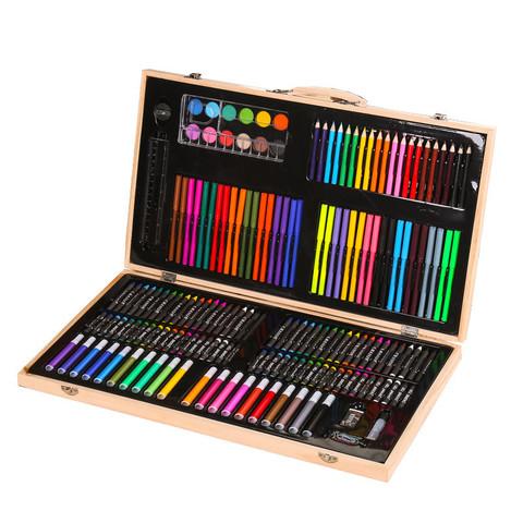 Набор для творчества рисования в деревянном чемоданчике (220 предметов)