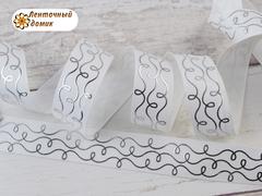 Лента репсовая Серебряные волны на белом 22 мм