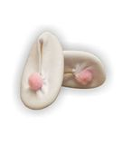 Тапочки трикотажные с помпоном - Белый / розовый. Одежда для кукол, пупсов и мягких игрушек.