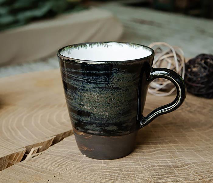 CUP104-1 Большая керамическая кружка в глазури, ручная работа (300 мл)