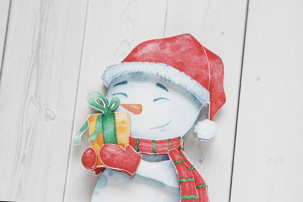 Снеговичок, готовая работа, крупный план
