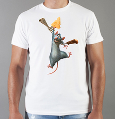 Футболка с принтом мультфильма Рататуй (Ratatouille) белая 004