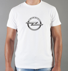Футболка с принтом Опель (Opel) белая 008