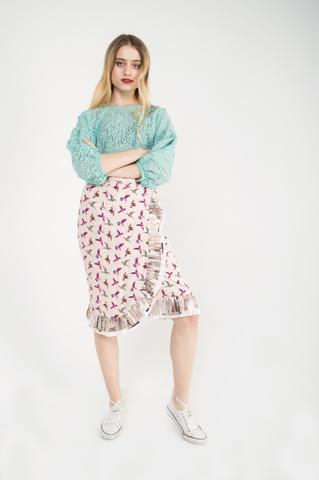 Блузка из хлопкового кружевного полотна