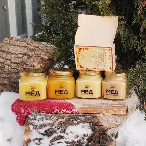 Медовое ассорти 4 шт по 330 г натурального мёда 2020г. + сота 200г.