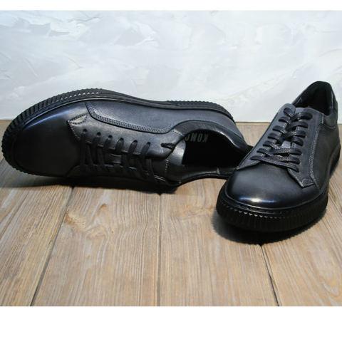 Кеды мужские кожаные. Демисезонные кроссовки кеды черные Komcero Black-Grey