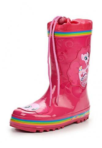 Резиновые сапоги Пони (My little Pony) утепленные на шнурках для девочек, цвет розовый. Изображение 1 из 7.