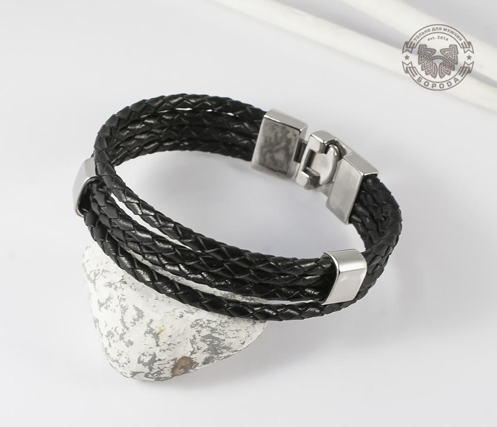 BL384 Стильный кожанный браслет со стальными подвижными элементами (21 см)