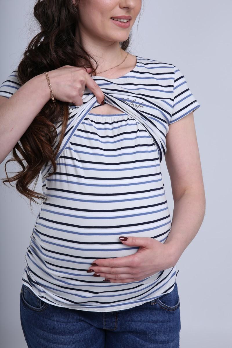 Футболка для беременных и кормящих 07690 полоска