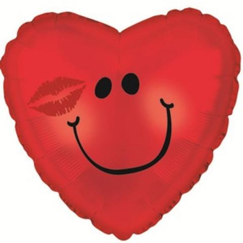 Фольгированный шар сердце Смайл с поцелуем