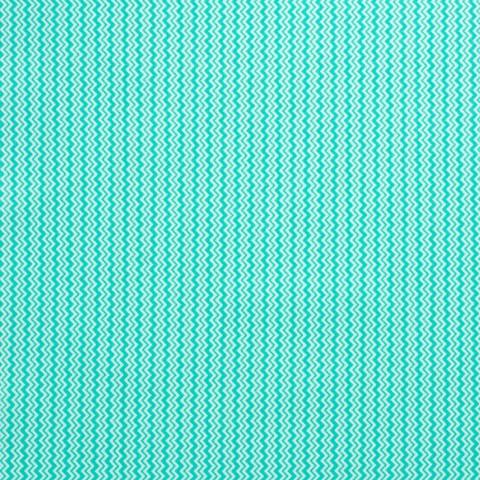 Ткань хлопковая зиг-заг бирюзово-белый мелкий, отрез 50*80 см