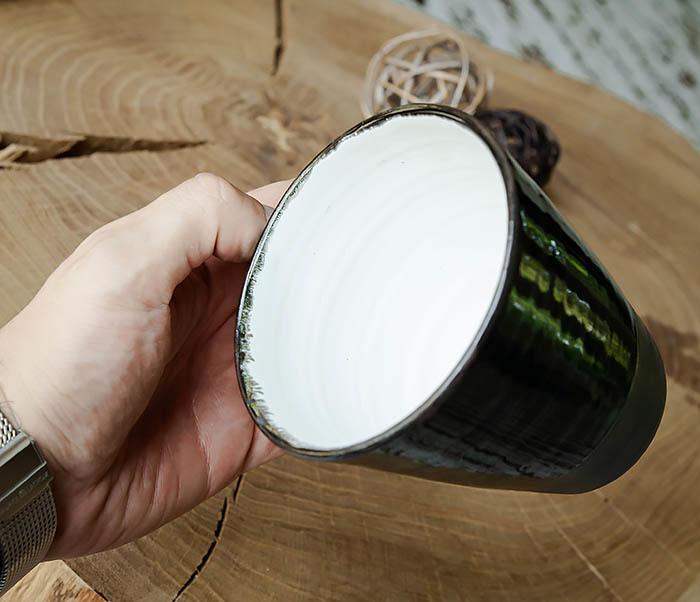 CUP104-1 Большая керамическая кружка в глазури, ручная работа (300 мл) фото 07
