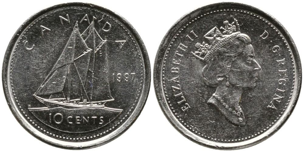 10 центов 1997 год. Парусник. UNC
