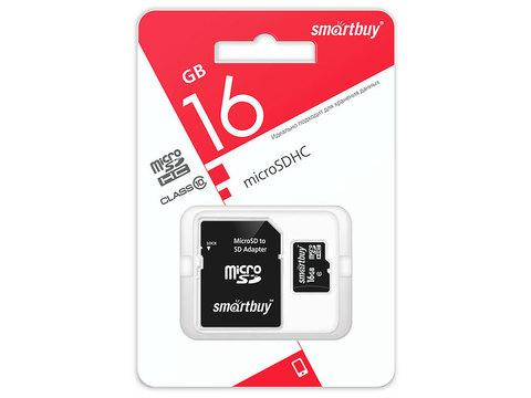 Карта памяти MicroSD  16GB  Smart Buy Сlass 10 UHS-I  + SD адаптер