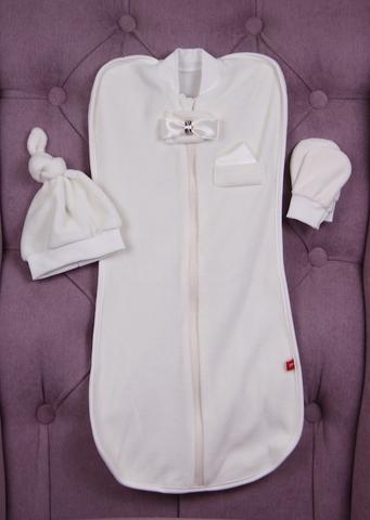 Велюровый комплект для новорожденных кокон шапочка антицарапки Принц