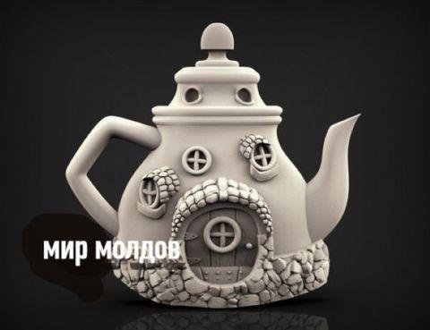 Силиконовый молд  № 421 Домик чайник 2 D